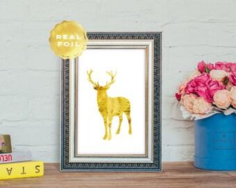 Buck Gold Foil - Gold Deer Print - Gold Buck Print - Gold Antler Print - White and Gold Decor - Gold Room Decor - Gold Rustic Decor