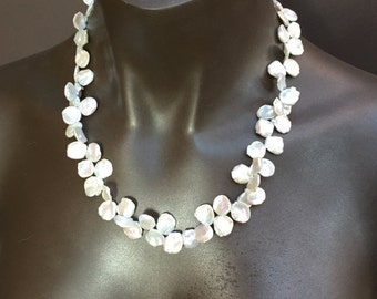 White Keshi Pearl Necklace/22 inches/Bridal Gift/Mother of the Bride