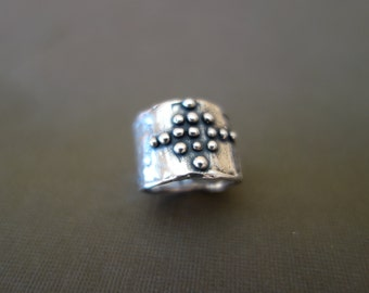 Sterling Silver Dotted Cross Ring