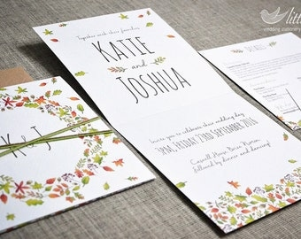 Wedding stationery - SAMPLE wedding invitation, includes details card and rsvp, autumn leaves style wedding design (148mm square folded)