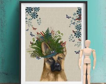 German shepherd Print - Milliners Dog - german shepherd art print dog gift Whimsical art Alsatian print colourful poster dog lover