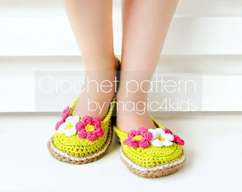 Crochet pattern: women slippers with jute rope soles,soles pattern included,women sizes,adult,girl,espadrilles,shoes,loafers,cord,twine
