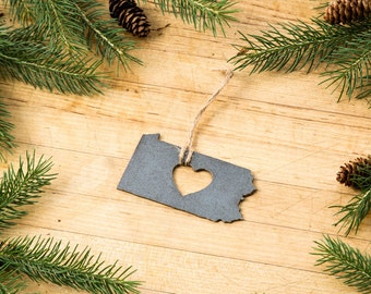Love Pennsylvania Christmas Ornament State Rustic Metal Ornament Recycled Steel Holiday Gift  Industrial Decor Wedding Favor