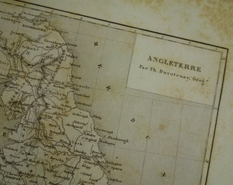 1852 ENGLAND old map of England and Wales - original antique map about London Manchester Liverpool vintage maps - veille carte angleterre
