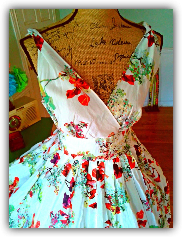 garden party dress pin up dress tea party floral easter. Black Bedroom Furniture Sets. Home Design Ideas
