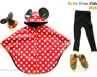 Kid's costume/ Kid's sewing pattern pdf/ kids mickey mouse rain cape/ kids costume/halloween costume /children clothing/18month-8Years