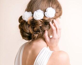 Wedding Hair Flower Pins - Bridal Flower Pins - Bridal Hair Pins - Wedding Headpiece - Bridal Headpiece - Organza, Set of 3