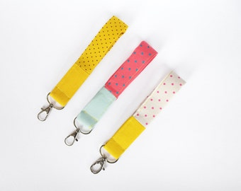 Key fob, keychain wristlet, pink loop keychain, mustard yellow, mint, swivel snap, wristlet key fob, cotton, fabric key fob, studio maas