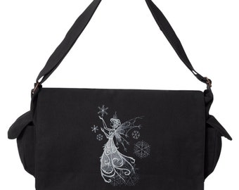 Fairy Messenger Bag, Faery Messenger Bag, Snow Fae Embroidered Canvas Cotton Messenger Bag