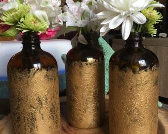 Gold hand painted flower bottles