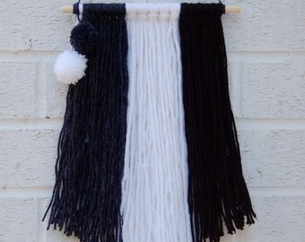 Black, White and Grey Fringe Wall Hanging with mini Pompoms