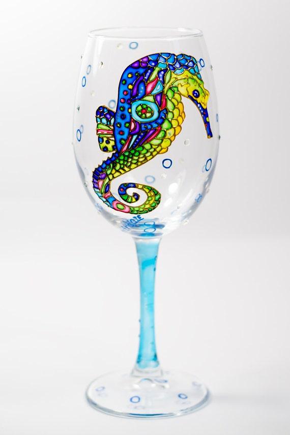 Printed Wedding Wine Glasses : Seahorse wine glasses personalized Wedding glass Beach wedding Bridal ...