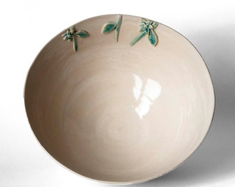 Off White Ceramic Bowl with Flowers