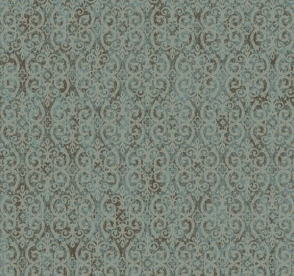 Trellis Wallpaper Metallic: Taupe Scrolling Trellis On Metallic Silver Blue And Brown