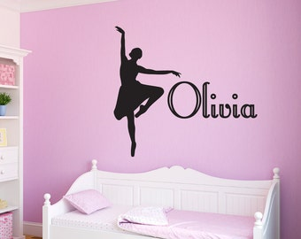 Ballerina Vinyl Wall Decal Personalized Girls Name Ballet Decal, Custom Ballerina Girls Room Decal, Dance Theme, Girls Room Vinyl Lettering