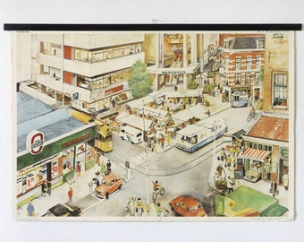 "Vintage dutch school poster, titled ""Shopping"", retro poster, school chart"