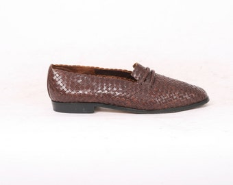 WOVEN Leather Womens 8 EUR 38.5 Dark Brown Loafers Casual Flats Vintage Shoes