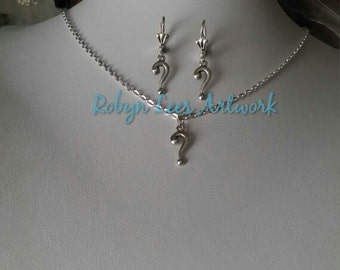 Silver Question Mark Necklace And Or Earrings Set on Silver Crossed Chain