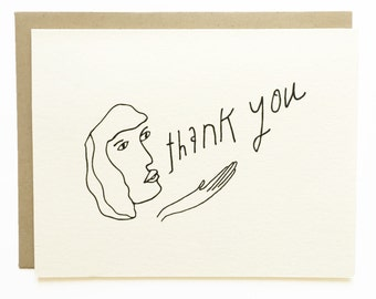 Blowing Thank Yous in the Wind - Hand Drawn Greeting Card - Thank You