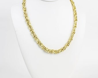 Modernist Vintage Gold Chunky Chain Link Statement Chain Necklace