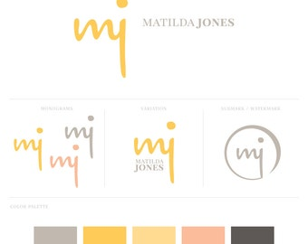 Essential Branding Package // Custom Logo Design // Monogram + Watermark + Palette