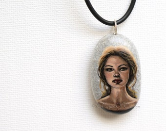 Girl face painted stone pendant: original portrait painting on stone as an art jewelry! Miniature portrait hand painted, unique art jewelry!