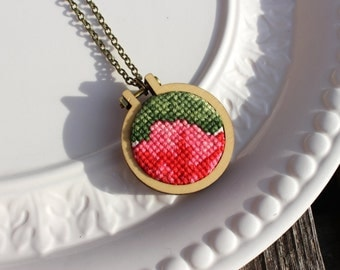 Vintage Cross Stitch Necklace. Pink Red Green Floral Hand Stitched Embroidery Hoop Pendant. Wood Hoop Fiber Art Jewelry. Ready To Ship. OOAK