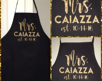 Personalized Glitter Mrs. Cooking Kitchen Apron for a Bride to Be With Wedding Anniversary Date and Married Last Name Bridal Shower Gift