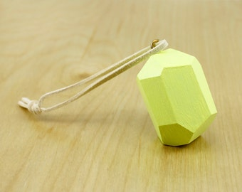 Faceted Wood Ornament   Neon Yellow