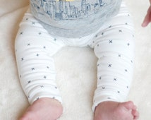 Baby Leggings, Toddler Leggings, Unisex Baby Pants, Baby Pants - Cross Your Heart Leggings