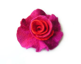 Felted flower brooch felt flower brooch multicolor flower felt floral brooch red orange purple merino wool brooch spring boho women's gift