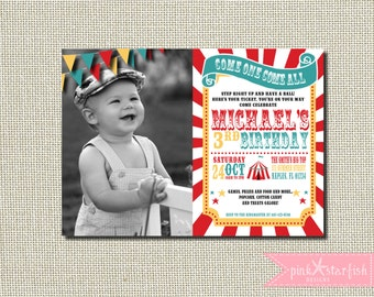 Circus Birthday Invitation, Carnival Birthday Party, Big Top, Tickets, Circus Birthday Party, Girls Boys Birthday Party, Circus, Sunburst