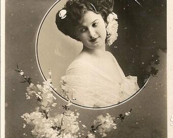 Love and Romance, Art Nouveau, Edwardian lady, vintage postcard, Belle Epoque, sepia photo, blossom flowers (ro3)