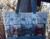 Blue Coffee Bags & Yurt Fabric Bag Purse Tote Recycled Upcycled Repurposed Canvas