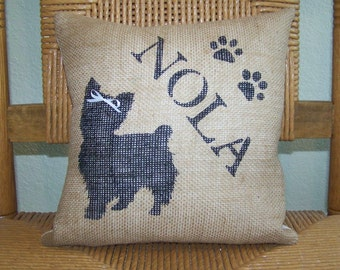 Yorkie pillow, dog pillow, puppy pillow, pet pillow, silhouette pillow, burlap Pillow, stenciled pillow, FREE SHIPPING!