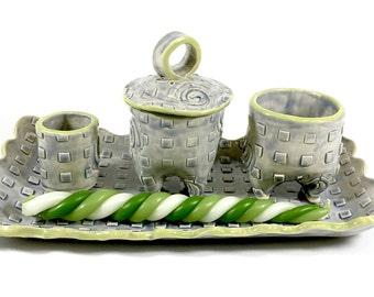 Unique, Hand Built Ceramic Havdalah Set