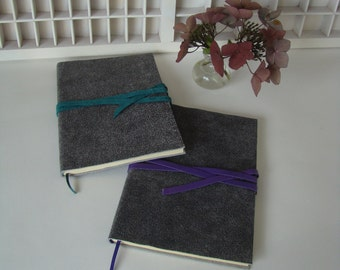 A5 note book line-grey with coloured connect Ribbon-leather write book-journal with leather cover-grey with purple