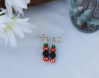 Orange and green earrings; beaded earrings; post earrings; orange bead earrings; green bead earrings; team color earrings; fall earrings