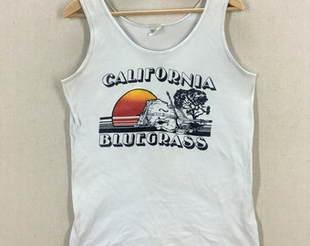 Vintage 70's California Bluegrass Hippie Boho Tank Top Shirt Size S/M USA