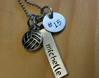 Hand Stamped Personalized Volleyball Necklace  - Girls Volleyball Necklace - Personalized Volleyball Necklace - Volleyball Team Gift