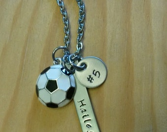 Hand Stamped Personalized Soccer Necklace  - Girls Soccer Team Gift - Girls Soccer Necklace