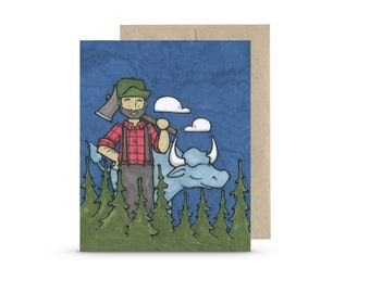 Paul Bunyan and His Babe - Greeting Card Blank Inside