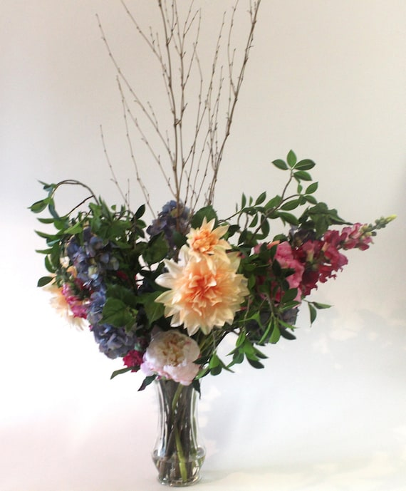 Faux floral arrangements floral centerpiece foyer by for Foyer flower arrangement