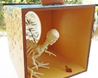 Mixed Media Assemblage, Box Art, Recycled Art, Upcycled Box, Eggshell Mosaic, Altered Art,, Blue and Gold, Diorama, Shadow Box Art