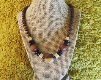 Wood Beaded Necklace from the 1970's