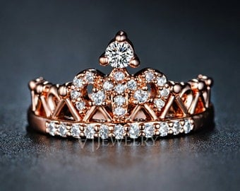 Crown Rose Gold Cubic Zirconia Ring Queen Crown Ring Princess Ring Cute Ring Everyday Ring Modern Trendy Ring Promise Ring CZ Ring, AR0217