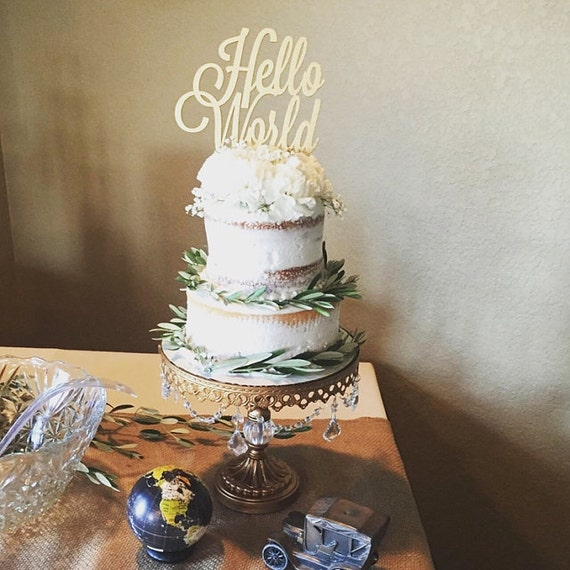 Hello World Cake Topper, Baby Shower Cake Topper, Gender Reveal Cake Topper, Welcome Baby Cake, Hello Baby Cake Topper, Gender Reveal Party