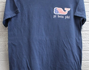 Navy Comfort Color Shirt with American Flag Whale and Sorority Embroidered