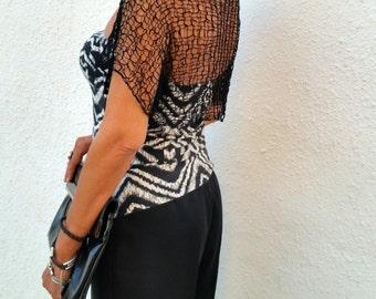 Black bolero, knit shrug, wedding shawl, black shrug, wedding knit shrug, black shrug bolero, party dress, loose knit, dress cover up