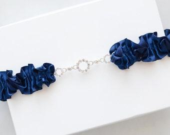 Something blue garter with crystal, Crystal garter, rhinestone garter, wedding garter belt, bridal garter, navy blue garter, satin garter